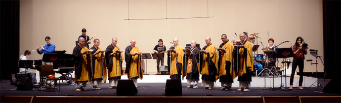 Photo: Priests and jazz band practicing at a dress rehearsal