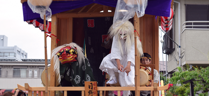 Photo: Hayashi music performance outside a festival rest-area