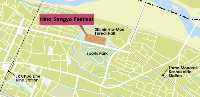 Map of area surrounding the Hino Sangyo Festival grounds and closest train stations