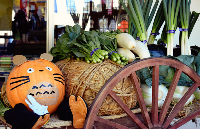 Cart of Vegetables with a Decorated Pumpkin